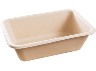 BK070 - Barquette rectangulaire en Bagasse - Beige, 700ml, 180x120x55mm